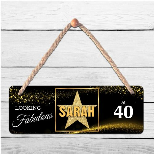 Personalised Star Sparkle  ANY NAME Hanging Door Plaque N8
